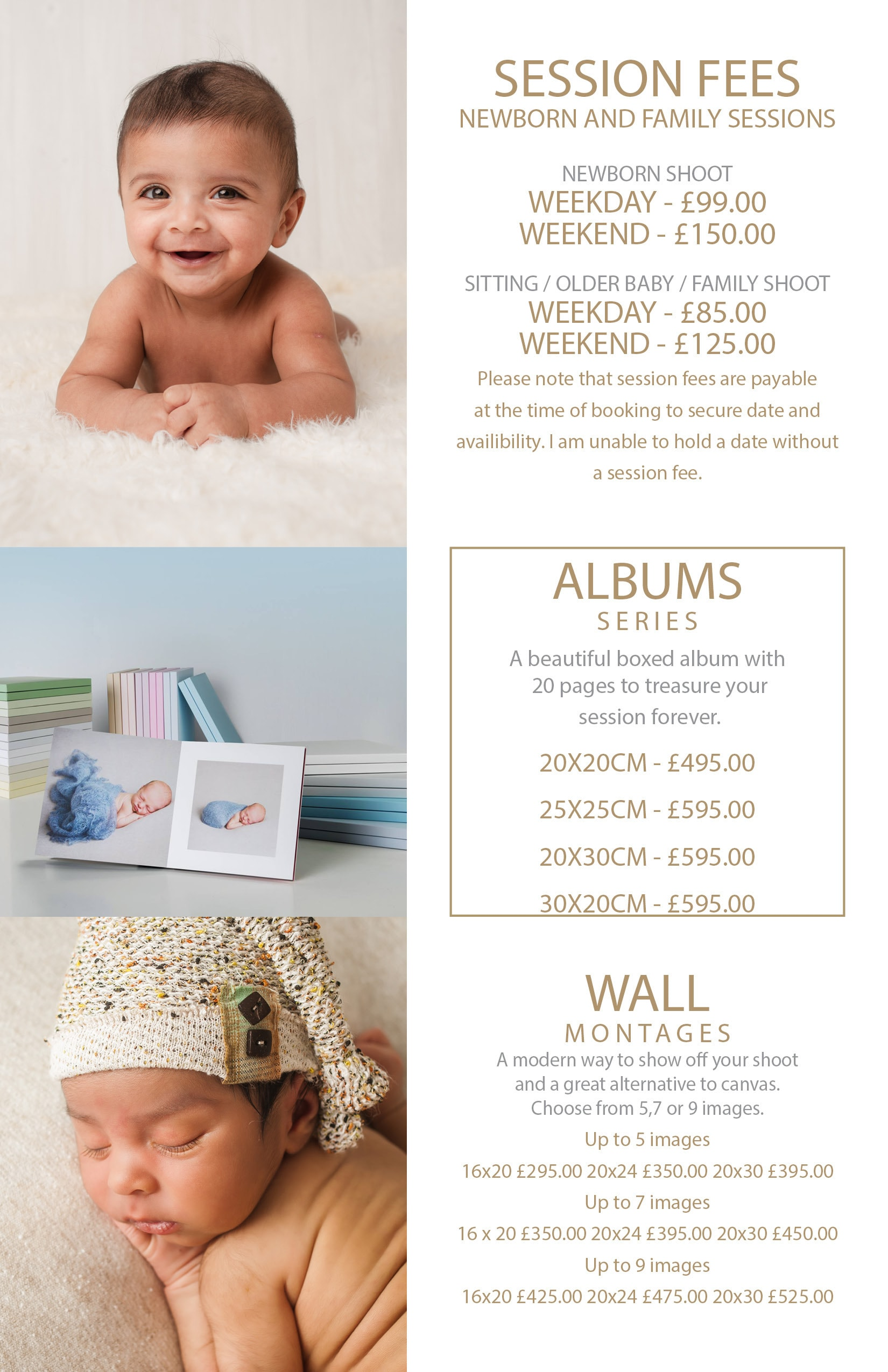 Newborn and baby pricelist